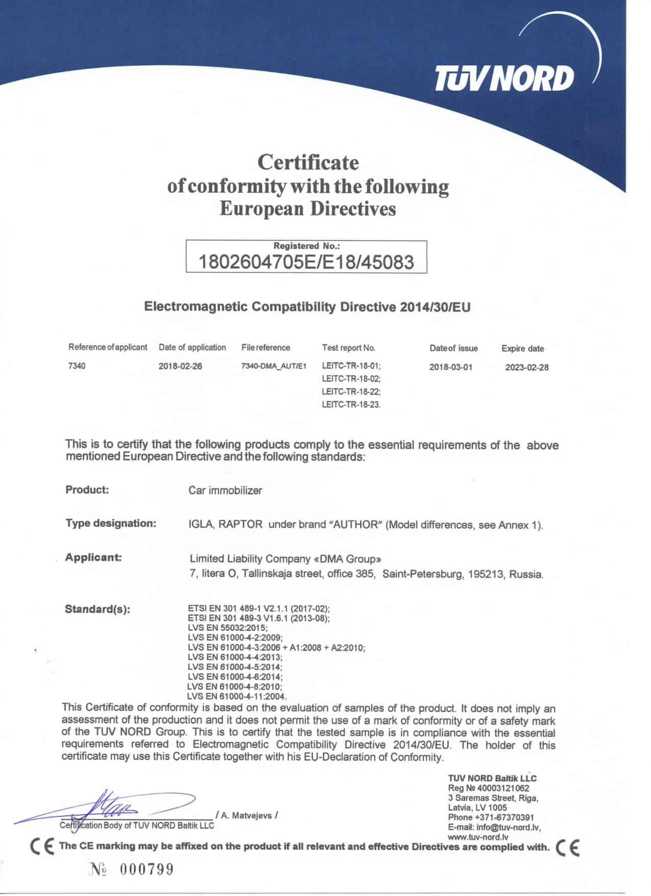 TUV certifikace